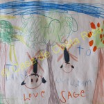 6 year old Sage drew a picture of two monkeys for us. Thanks Sage and family!