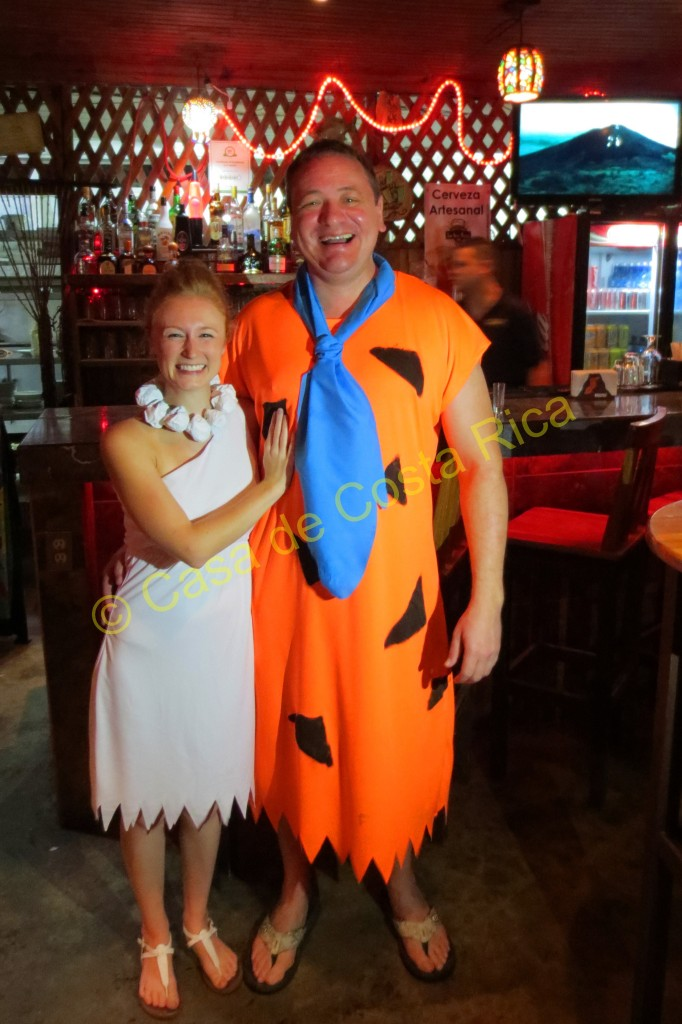 Dressed as Fred and Wilma Flintstone  for Halloween 2014.