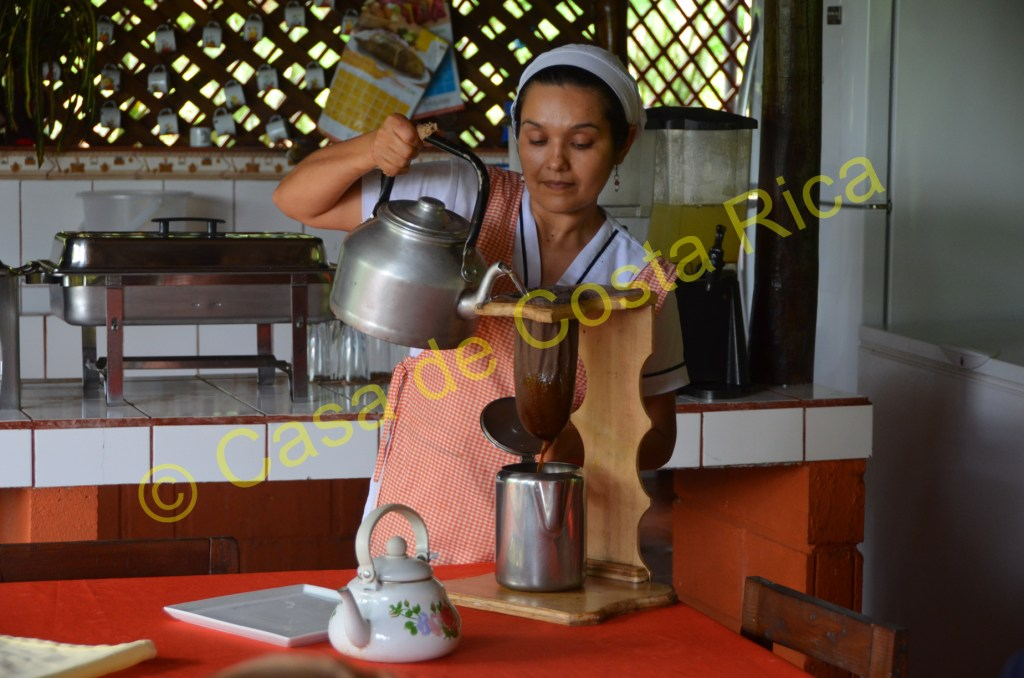 After a traditional lunch, try a cup of coffee made the Costa Rican way.