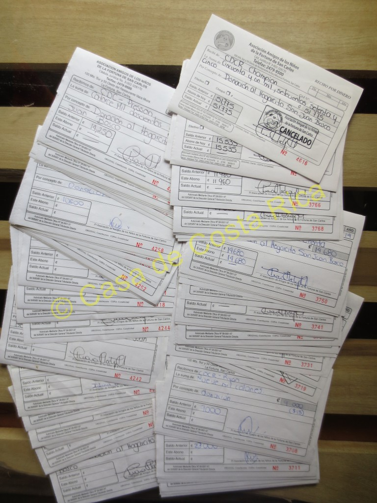 Look at all the donation receipts! We strongly believe in supporting our community and do so by donating 10% of the Riverbank rentals to the Children's Shelter.