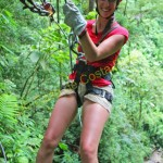 enjoying in canyoning in Costa Rica