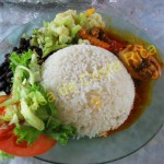 Typical Costa RIcan lunch; chicken, rice and beans, salad and fresh juice.